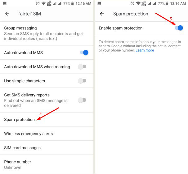 Enable Spam Filter Android 2