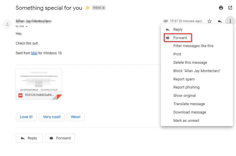 forward email in gmail