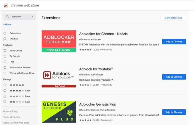 AdBlocker in Webstore