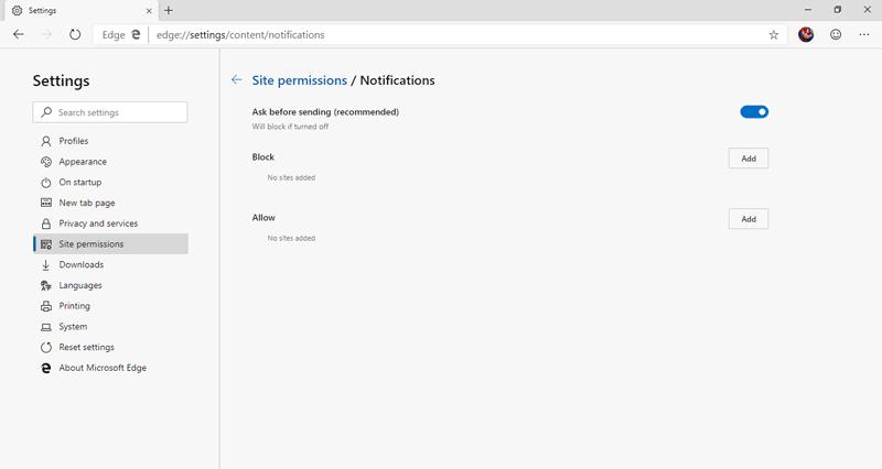 New Edge Web Notifications