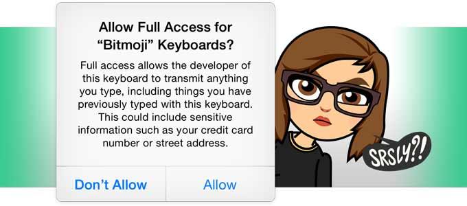 Bitmoji Full Keyboard Access
