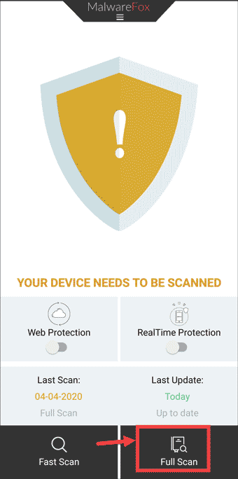 MalwareFox Full Scan Android