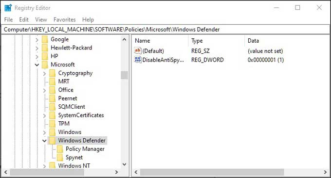 Windows Defender Regedit Directory