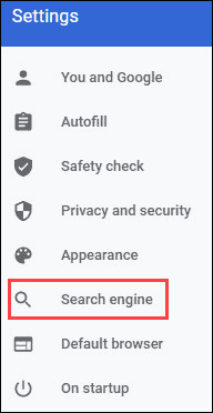 Chrome search engine settings