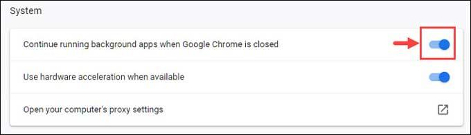 Chrome system settings