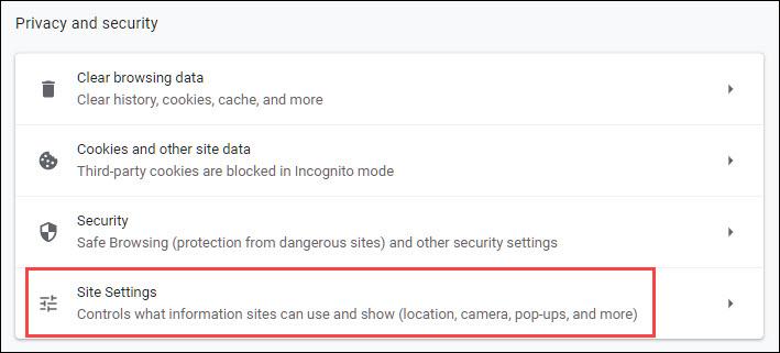 Choose site settings