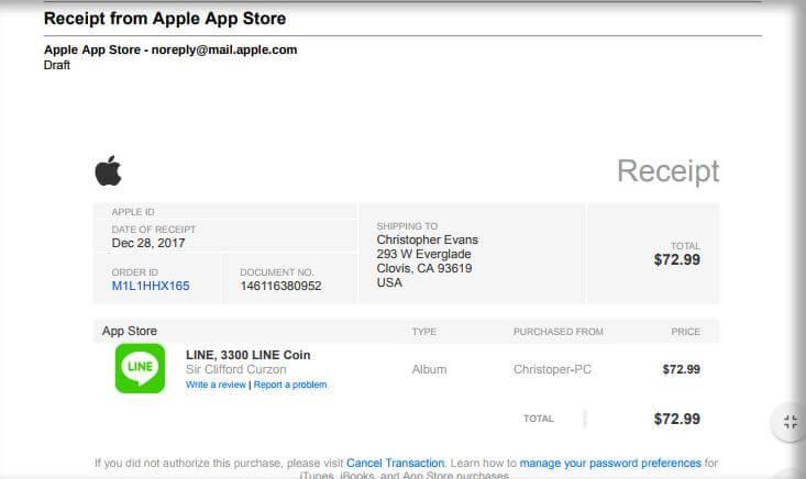 apple id phishing email receipt