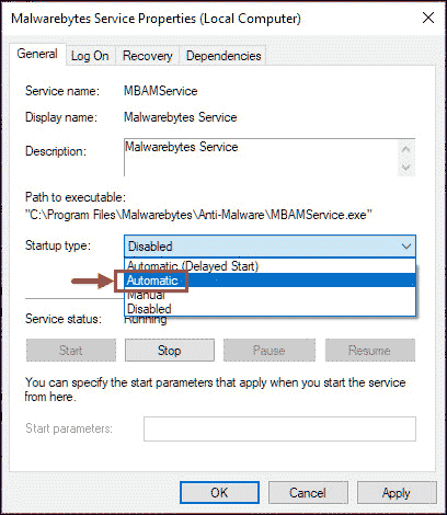 malwarebytes service properties